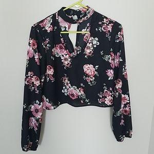 Charlotte Russe crop top, rose pattern